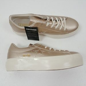 Converse One Star Platform Ox Low Top Shoes Gold